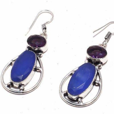 Sa 0442c boucles oreilles saphir amethyste bleue 13gr 10x20mm achat vente bijou argent 925