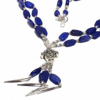 Sa 0446b collier sautoir saphir 10x15mm 57gr pendants plumes achat vente bijou 1900 argent 925