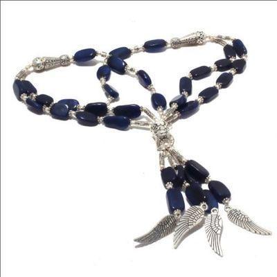 Sa 0447a collier sautoir saphir 10x15mm 62gr pendants ailes achat vente bijou 1900 argent 925
