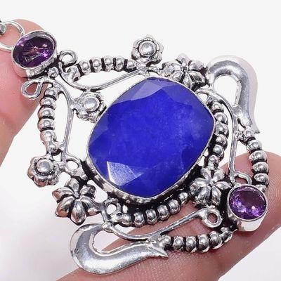 Sa 0458c pendentif pendant saphir amethyste baroque 16gr 20x25mm achat vente bijou argent 925