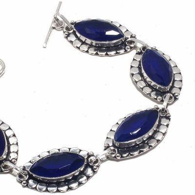 Sa 0464b bracelet saphir bleu cachemire 24gr 10x20mm achat vente bijou ethnique argent 925