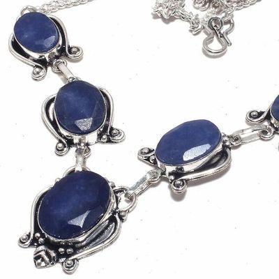 Sa 0466b collier parure sautoir saphir bleu 30gr 15x20mm achat vente bijou ethnique argent 925