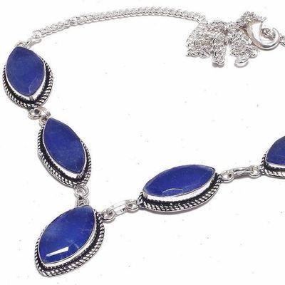 Sa 0467d collier parure sautoir saphir bleu 30gr 10x20mm achat vente bijou ethnique argent 925
