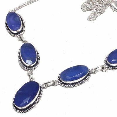 Sa 0469b collier parure sautoir saphir bleu 30gr 10x20mm achat vente bijou ethnique argent 925