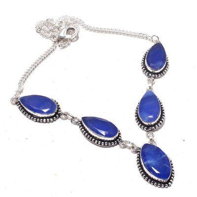 Sa 0470a collier parure sautoir saphir bleu 30gr 10x20mm achat vente bijou ethnique argent 925