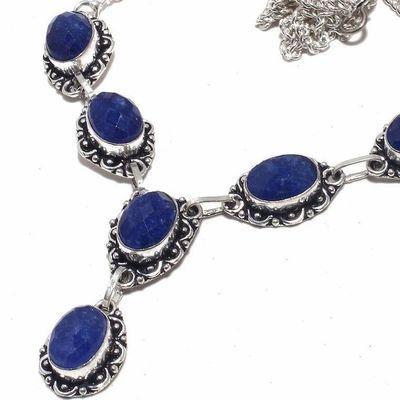 Sa 0471b collier parure sautoir saphir bleu 30gr 10x15mm achat vente bijou ethnique argent 925