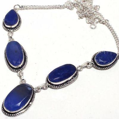 Sa 0472b collier parure sautoir saphir bleu 30gr 10x22mm achat vente bijou ethnique argent 925