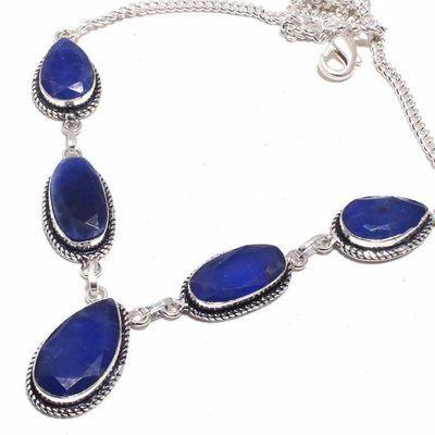 Sa 0473b collier parure sautoir saphir bleu 28gr 10x20mm achat vente bijou ethnique argent 925