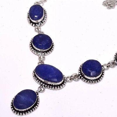 Sa 0474b collier parure sautoir saphir bleu 29gr 10x20mm achat vente bijou ethnique argent 925