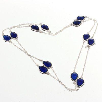 Sa 0475a collier parure sautoir 12 saphir bleu 25gr 10x8mm achat vente bijou ethnique argent 925