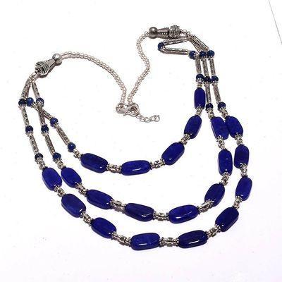 Sa 0477a collier 3rangs perles saphir bleu 47gr 10x8mm achat vente bijou ethnique argent 925