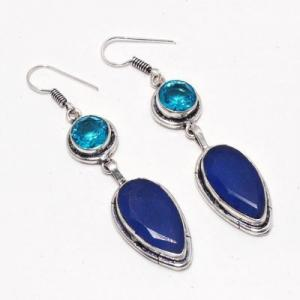 Sa 0480a boucles oreilles saphir topaze bleue 14gr 10x20mm achat vente bijou argent 925