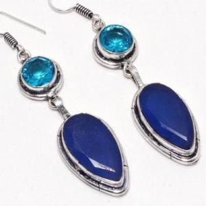 Sa 0480c boucles oreilles saphir topaze bleue 14gr 10x20mm achat vente bijou argent 925