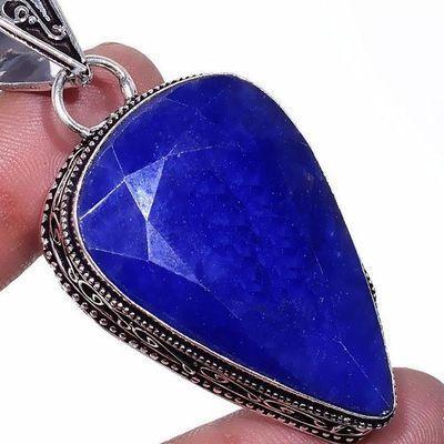 Sa 0481c pendentif pendant saphir topaze bleue 20gr 25x40mm achat vente bijou argent 925