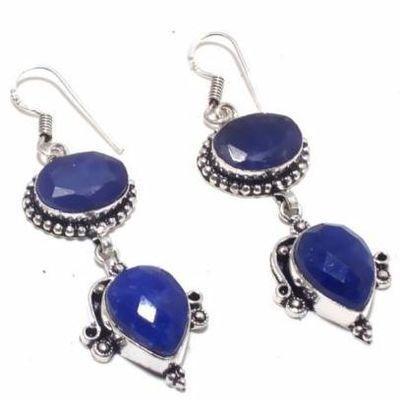 Sa 0482c boucles oreilles saphir bleu 15gr 10x15mm achat vente bijou argent 925