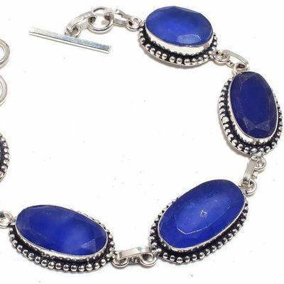 Sa 0483b bracelet saphir bleu 26gr 10x20mm achat vente bijou ethnique argent 925
