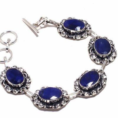 Sa 0484b bracelet saphir bleu 24gr 10x15mm achat vente bijou ethnique argent 925
