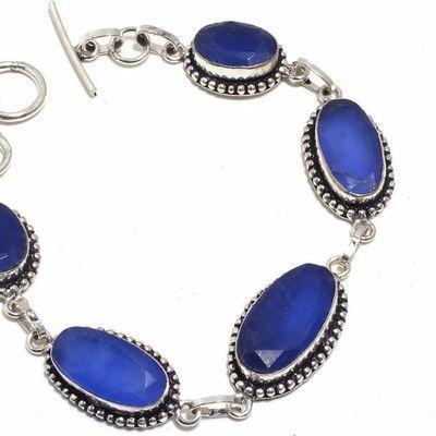 Sa 0485b bracelet saphir bleu 23gr 10x20mm achat vente bijou ethnique argent 925