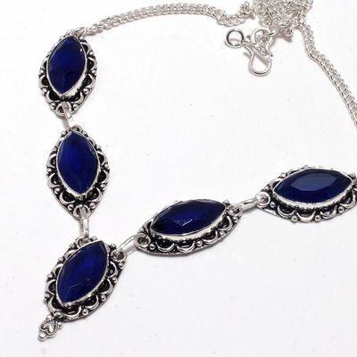 Sa 0489b collier parure sautoir saphir bleu 26gr 10x20mm achat vente bijou argent 925