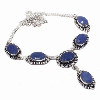 Sa 0490a collier parure sautoir saphir bleu 28gr 10x15mm achat vente bijou argent 925