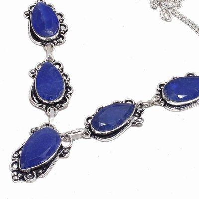 Sa 0491b collier parure sautoir saphir bleu 34gr 12x25mm achat vente bijou argent 925