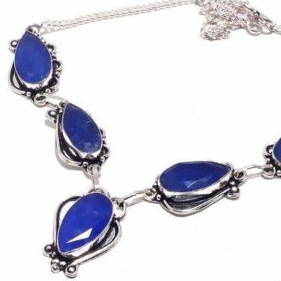 Sa 0492b collier parure sautoir saphir bleu 31gr 10x20mm achat vente bijou argent 925