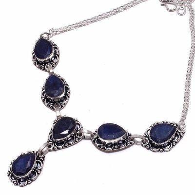 Sa 0493b collier parure sautoir saphir bleu 26gr 10x15mm achat vente bijou argent 925