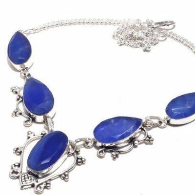Sa 0494b collier parure sautoir saphir bleu 29gr 14x25mm achat vente bijou argent 925