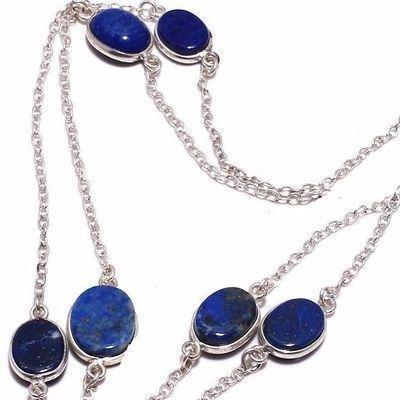 Sa 0495c collier parure sautoir saphir bleu 11gr 10x12mm achat vente bijou argent 925