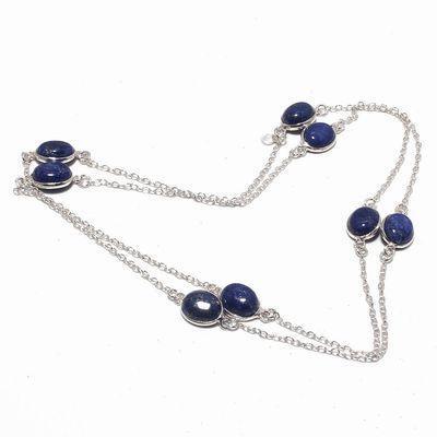 Sa 0496a collier parure sautoir 8xsaphir bleu 12gr 10x8mm achat vente bijou argent 925