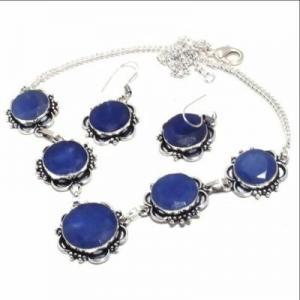 Sa 0498d collier boucles oreilles saphir bleu 41gr 15x20mm achat vente bijou argent 925