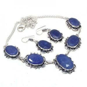 Sa 0500a collier boucles oreilles saphir bleu 38gr 15x20mm achat vente bijou argent 925