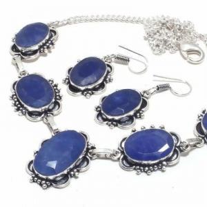 Sa 0500b collier boucles oreilles saphir bleu 38gr 15x20mm achat vente bijou argent 925