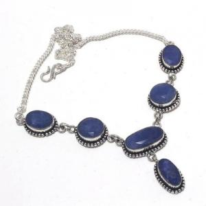Sa 0501a collier parure sautoir saphir bleu 28gr 15x10mm achat vente bijou argent 925
