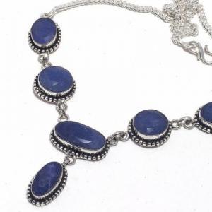 Sa 0501b collier parure sautoir saphir bleu 28gr 15x10mm achat vente bijou argent 925