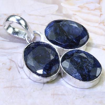 Sa 0531b pendant pendentif saphir bleu 7gr 8x10mm achat vente bijou ethnique argent 925