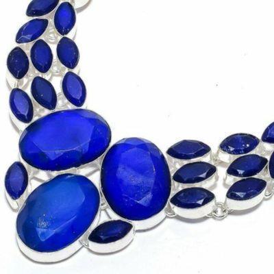 Sa 0532b collier parure sautoir saphir bleu 71gr 20x25mm achat vente bijou ethnique argent 925