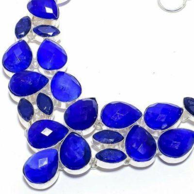 Sa 0534b collier parure sautoir saphir bleu 67gr 12x18mm achat vente bijou ethnique argent 925