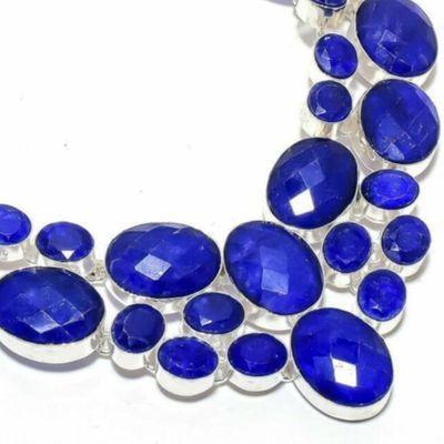 Sa 0535b collier parure sautoir saphir bleu 85gr 15x20mm achat vente bijou ethnique argent 925