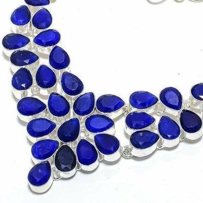Sa 0536b collier parure sautoir saphir bleu 54gr 8x10mm achat vente bijou ethnique argent 925