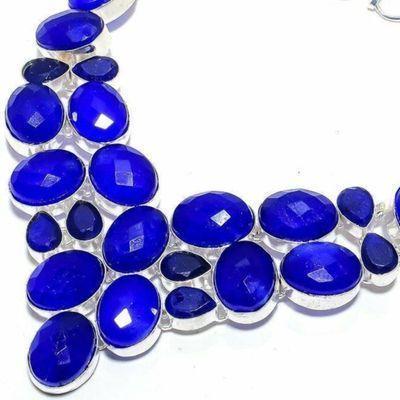 Sa 0537b collier parure sautoir saphir bleu 80gr 15x20mm achat vente bijou ethnique argent 925