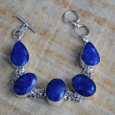 SAP-302 - BRACELET en SAPHIR Bleu du cachemire - Argent 925 - 139 carats - 27,8 gr