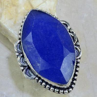 SA-8301- Grosse BAGUE Vintage T56 avec SAPHIR Bleu du cachemire - 61 carats Plq AG 925