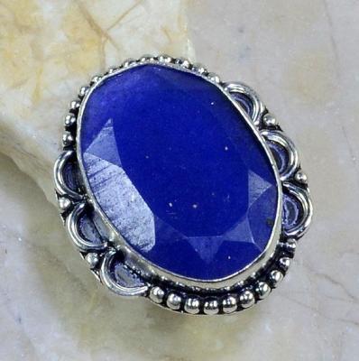 SA-8303- Grosse BAGUE Vintage T57 avec SAPHIR Bleu du cachemire - 47 carats Plq AG 925