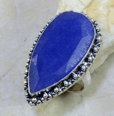 SA-8304- Grosse BAGUE Vintage T 56 avec SAPHIR Bleu du cachemire - 55 carats Plq AG 925