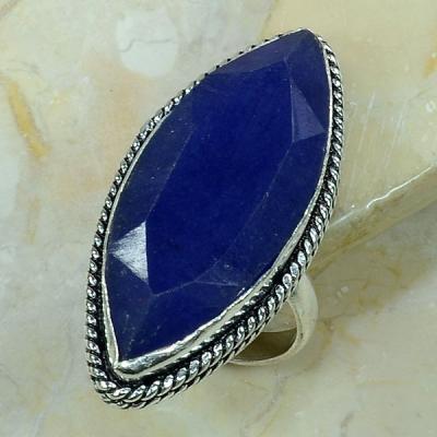 SA-8306- Grosse BAGUE Vintage T61 avec SAPHIR Bleu du cachemire - 70 carats 14 g  Plq AG 925
