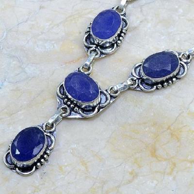 SA-8312 - Joli COLLIER, SAUTOIR, PARURE en SAPHIR Bleu et Argent 925 - 26 gr - 130 carats