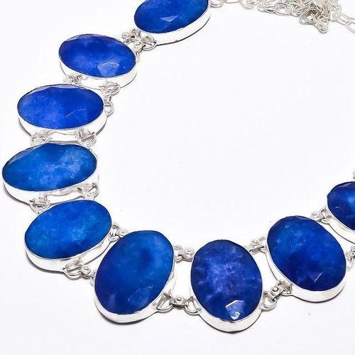 Sa 9384b collier sautoir parure saphir bleu 91gr achat vente bijou ethnique argent 925