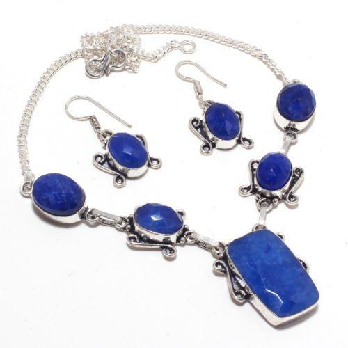 Sa 9392a collier boucles oreilles parure saphir bleu 38gr achat vente bijou ethnique argent 925