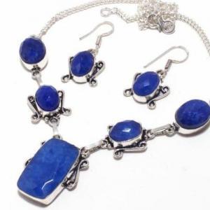 Sa 9392b collier boucles oreilles parure saphir bleu 38gr achat vente bijou ethnique argent 925